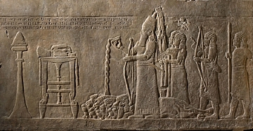 Relief Showing King pouring a LIbation (הגדל)