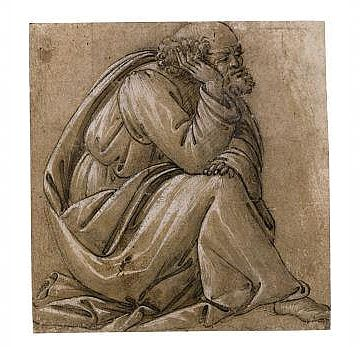Botticelli - Study for a seated St. Joseph (הגדל)